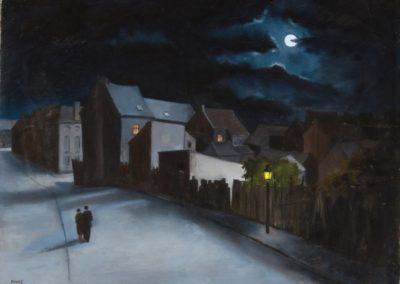 Couple dans la rue au clair de lune - André Poffé (1979)