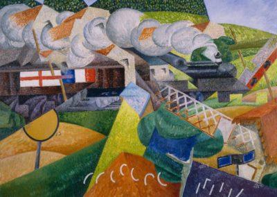 Train de la Croix Rouge traversant un village - Gino Severini (1906)