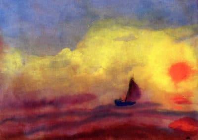 Marins et coucher de soleil - Emil Nolde (1946)