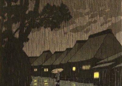 Nuit pluvieuse à Maekawa - Hasui Kawase (1932)