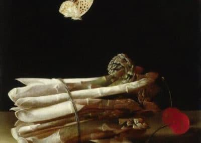 Nature morte à la botte d'asperges, aux cerises et au papillon - Adriaen Coorte (1693)