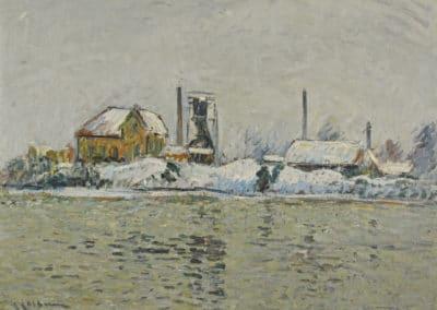 Usine au bord de l'Oise, effet de neige - Gustave Loiseau (1905)