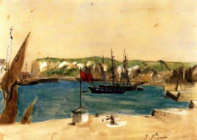 Vue du port de Dieppe - Eugène Delacroix (1851)
