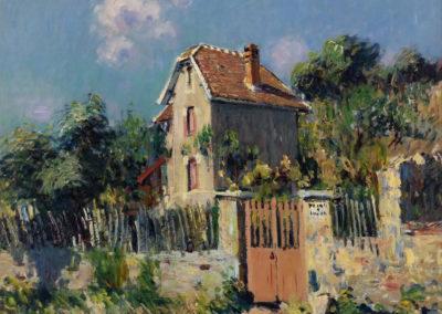 Maison a la grille rose, Pontoise - Gustave Loiseau (1910)