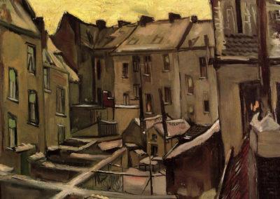 Cours de vieilles maisons à Antwerp sous la neige - Vincent van Gogh (1885)