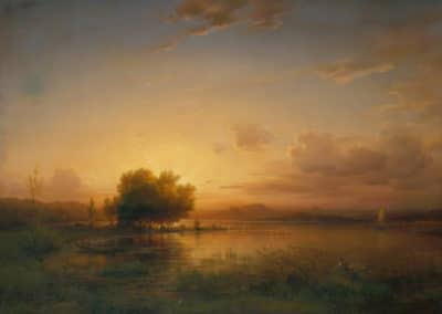 Evening landscape of lake Constance - Friedrich Thurau (1856)