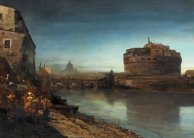 Evening mood at the Tiber in Rome - Oswald Achenbach (1888)