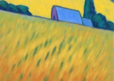 Gehöft vor gelbem Hügel - Monika Brachmann (2007)