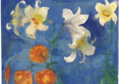 Narcisses et tulipes sur fond bleu - Emil Nolde (1945)