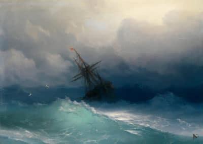 Vaisseau par mer forte - Ivan Aivazovsky (1888)