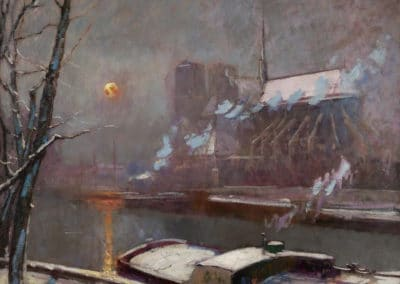 Quay of Tournelle at sunset in winter - Elie Anatole Pavil (1904)