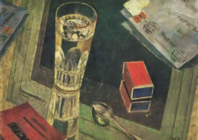 Still life with letters - Kuzma Petrov-Vodkin (1925)