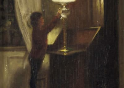 Boy lighting a lamp - Peter Ilsted (1901)