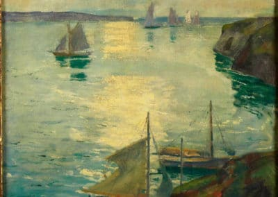 Coast scene with ships - Jonas Lie (1921)