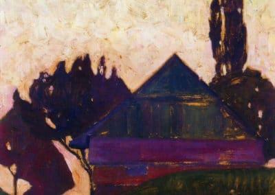Maison à travers les arbres - Egon Schiele (1908)