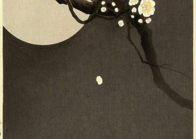 Flowering plum and moon - Ohara Koson (1898)
