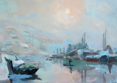 La Seine et l'île Lacroix à Rouen en hiver - Albert Lebourg (1893)