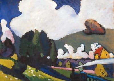 Landscape near Murnau with locomotive - Wassily Kandinsky (1909)