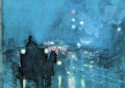 Nocturne, railway crossing Chicago - Childe Hassam (1899)