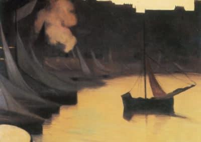 Coin de port le soir, Honfleur - Felix Vallotton (1914)