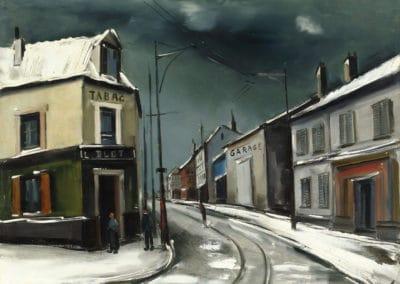 Rue de village sous la neige - Maurice de Vlaminck (1928)