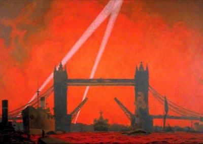 The pool of London during the Docklands Air Raids - Charles Pears (1940)