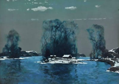 Lake in winter - Stepan Fedorovich Kolesnikoff (1933)