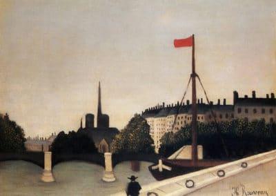 Notre Dame vue de l'ile Saint Louis du quai Henri IV - Henri Rousseau (1909)