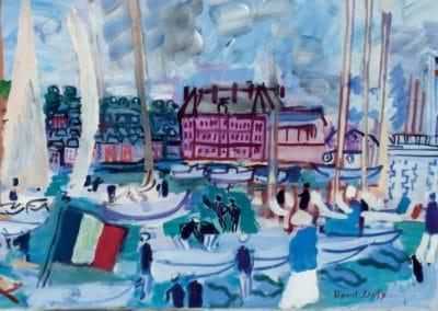 Voiliers dans le bassin de Deauville et drapeau - Raoul Dufy (1933)