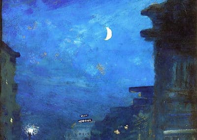 City street in moonlight - Louis M. Eilshemius (1929)