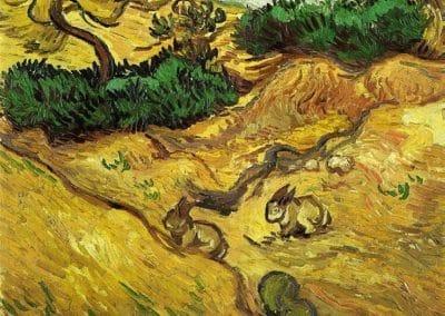 Champs avec deux lapins - Vincent van Gogh (1888)