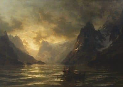Fishermen in a Norwegian fjord at sunrise - Carl August Heinrich Ferdinand Oesterley (1868)