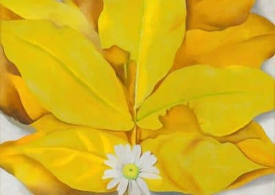 Yellow hickory leaves with daisy - Georgia O'Keeffe (1928)