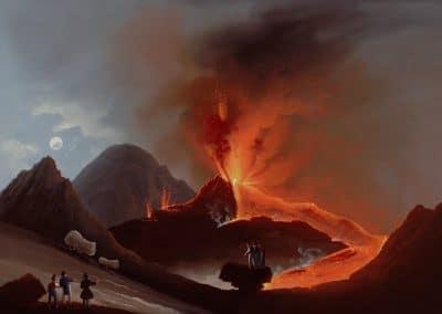 Cratere del 1839 - vue Vésuve en éruption