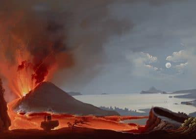 Eruzione del 1839 - vue nocturne du Vésuve en éruption