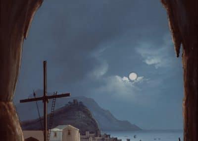 Grotte d'Amalfi - vue nocturne sur la mer depuis la grotte d'émeraude