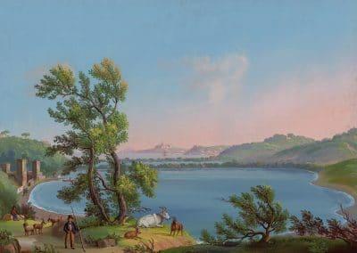 Lago d'Averno - vue générale du lac d'Averne près de Pouzzoles