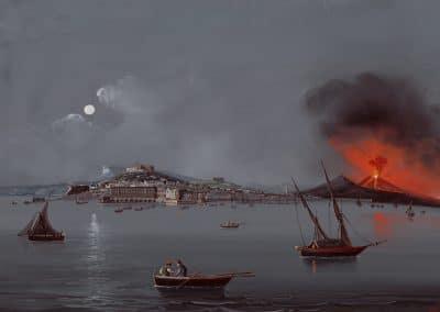 Napoli da Mare - vue générale de nocturne de Naples depuis la mer et Vésuve en éruption